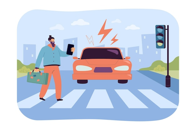 Peatón descuidado mirando el teléfono en el paso de peatones. conducción de automóviles hacia el hombre que cruza la cebra en el semáforo verde, peligro de accidente ilustración plana
