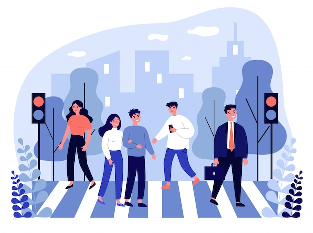 Peatones cruzando la calle de la ciudad