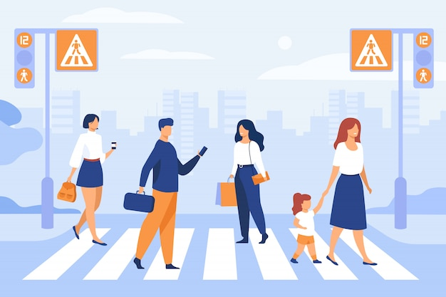 Peatones de dibujos animados caminando por el paso de peatones