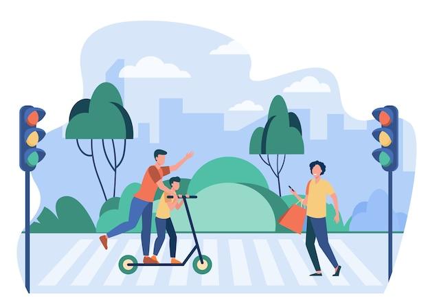 Peatones infringiendo las normas de tráfico. personas que usan celular, montando scooter en la ilustración de vector plano de paso de peatones. seguridad vial, advertencia