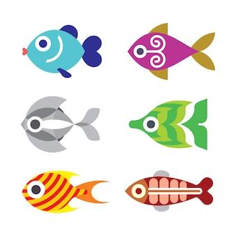 Peces de acuario - conjunto de color aislado