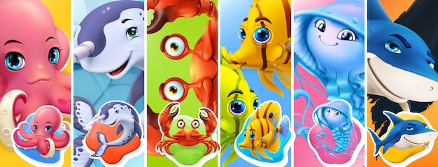 Peces y animales marinos. tiburón, pulpo, medusa, cangrejo, narval. conjunto de iconos 3d de personaje de dibujos animados