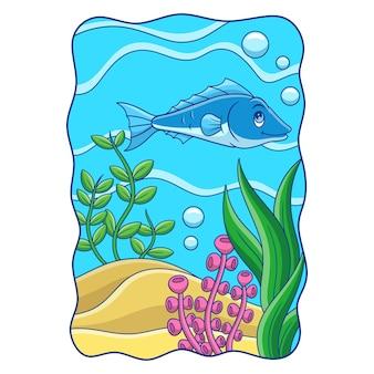 Los peces de atún de ilustración de dibujos animados están nadando en busca de comida en el mar cerca del arrecife de coral