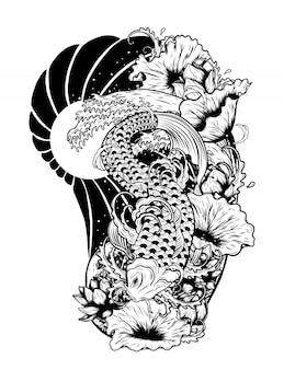 Peces carpa con loto vector tatuaje a mano dibujo