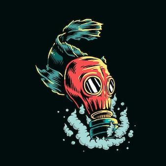 Peces con máscara de gas en la ilustración de agua contaminada