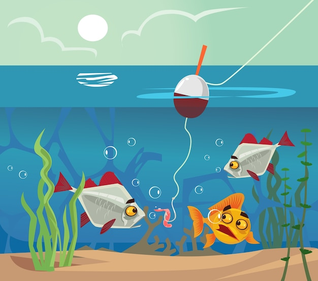 Peces en el fondo mirando anzuelo de cebo de gusano. concepto de lago de mar de agua de pesca. vector de dibujos animados plana