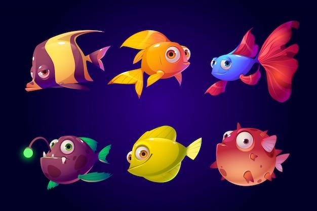 Peces de mar, conjunto de criaturas tropicales de acuarios coloridos