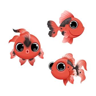 Peces rojos de dibujos animados lindo