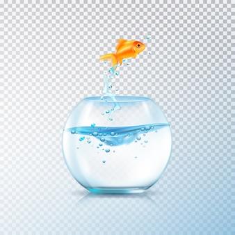 Los peces saltan la composición del tazón con un acuario realista y una carpa dorada en un fondo transparente, ilustración vectorial