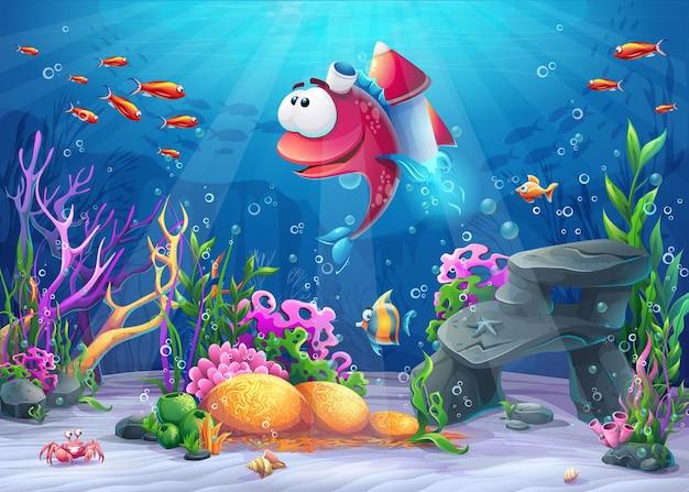 Peces submarinos con cohete. paisaje de vida marina: el océano y el mundo submarino con diferentes habitantes.