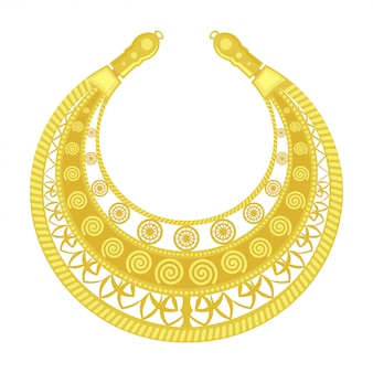 Pectoral de oro. joyas de anciana. detalle dorado del traje femenino de los escitas. objeto vintage
