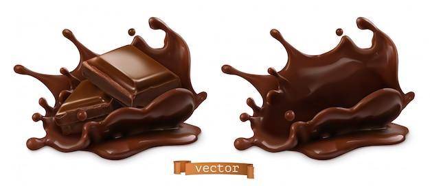 Pedazo de chocolate y chocolate splash, objetos de comida realista en 3d