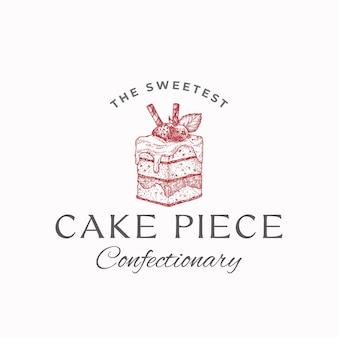 Pedazo de pastel más dulce. plantilla de signo, símbolo o logotipo abstracto de confitería de calidad superior. dulce dibujado a mano con tipografía. panadería