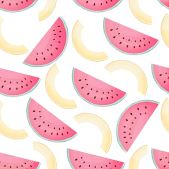 Pedazos de patrón transparente de sandía y melón. fondo de verano.