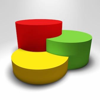 Pedestal 3d infográfico con columnas de colores.