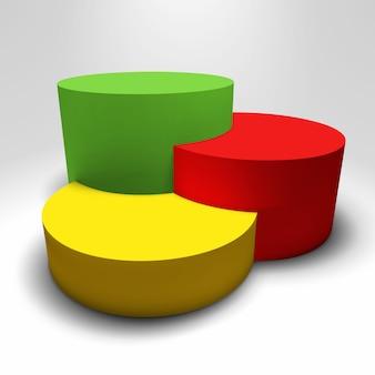 Pedestal 3d de vector de infografía con columnas de colores