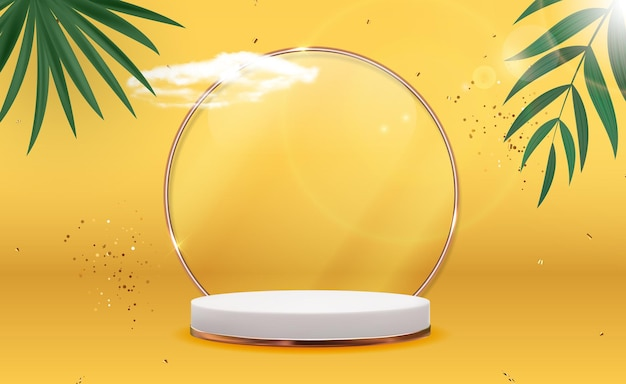 Pedestal blanco 3d con marco de anillo de cristal dorado, nubes realistas, hojas de palmera y confeti