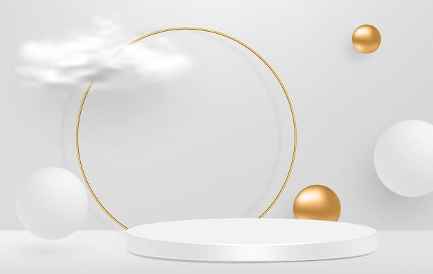 Pedestal blanco 3d con marco de anillo de cristal dorado, nubes realistas.