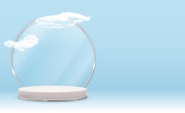 Pedestal blanco 3d con marco de anillo de cristal plateado, nubes realistas.