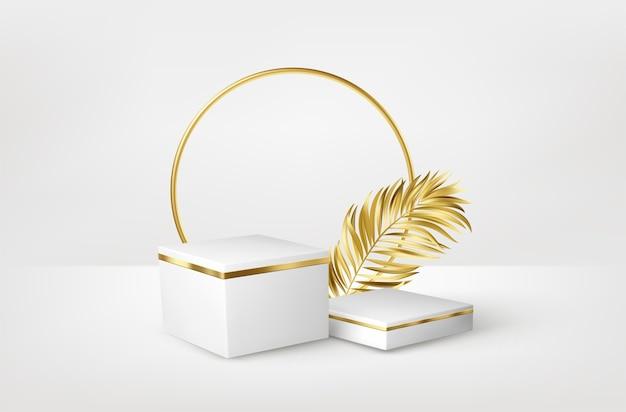 Pedestal blanco realista 3d con hojas de palmeras doradas.
