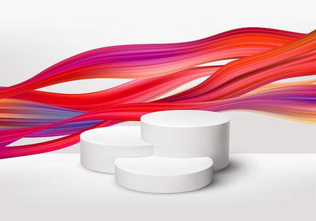 Pedestal blanco realista 3d con pintura de pincel de color.
