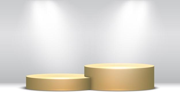 Pedestal dorado. podio y focos. etapa