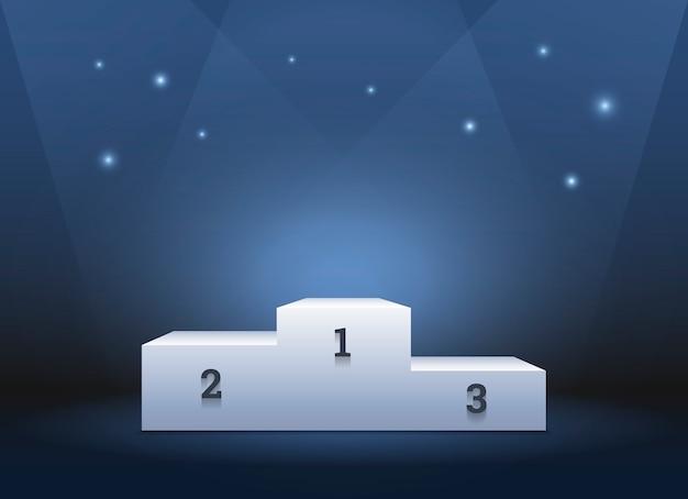Pedestal para ganadores, podio sobre azul profundo.