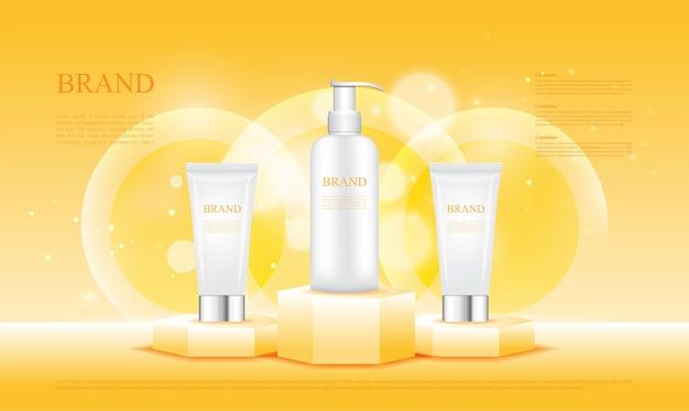 Pedestal hexagonal amarillo mostrar productos cosméticos.