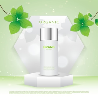 Pedestal hexagonal para mostrar producto cosmético natural