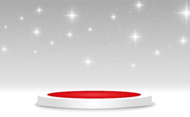 Pedestal o plataforma redonda del podio iluminada por focos en el fondo