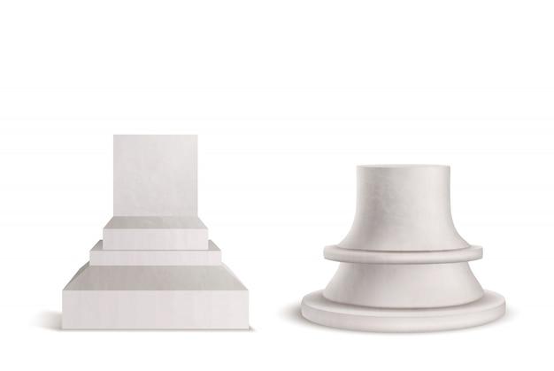 Pedestal, pedestal, podio de mármol conjunto aislado sobre fondo blanco.