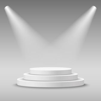 Pedestal de podio de escenario blanco redondo iluminado. ilustración.