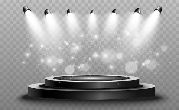 Pedestal de podio redondo o plataforma iluminada por focos en el fondo ilustración vectorial