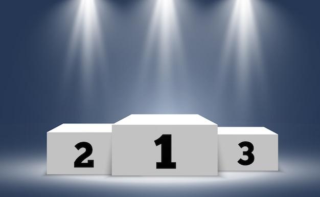 Pedestal para premiar a los ganadores. podio blanco o plataforma con focos.