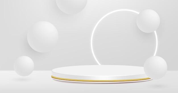 Pedestal de producto, blanco y dorado, forma cilíndrica.