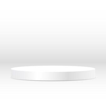 Pedestal redondo en blanco circular blanco galardonado con el podio del ganador por la publicidad de productos de lujo