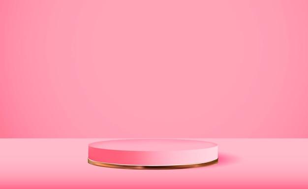 Pedestal rosa 3d realista sobre fondo rosa pantalla de podio vacía de moda para presentación de productos cosméticos revista de moda