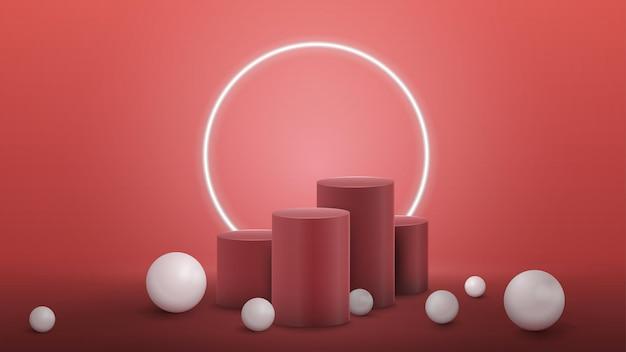 Pedestales cilíndricos rosados de los ganadores con una gran esfera blanca realista alrededor en una habitación rosa