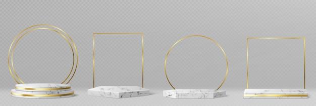 Pedestales de mármol o podios con marcos dorados y decoración, bordes redondos y cuadrados en escenarios geométricos vacíos, exhibiciones de piedra para presentación de productos, plataformas de galería conjunto de vectores 3d realista