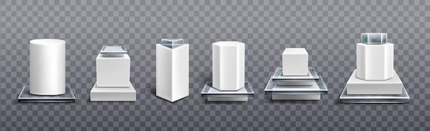 Pedestales de plástico blanco y vidrio para exhibición de productos