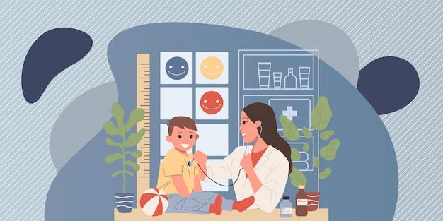 Pediatra examinando pequeño paciente