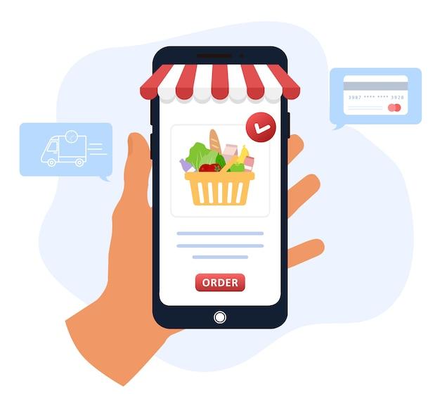 Pedido de comida en línea. entrega de comestibles. el catálogo de productos en la página del navegador web. cajas de compras. quédate en casa. cuarentena o autoaislamiento. ilustración moderna en estilo plano.