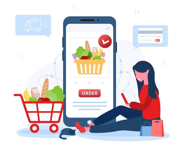 Pedido de comida en línea. entrega de comestibles. una mujer compra en una tienda en línea. el catálogo de productos en la página del navegador web. cajas de compras. quédate en casa. cuarentena o autoaislamiento. estilo plano