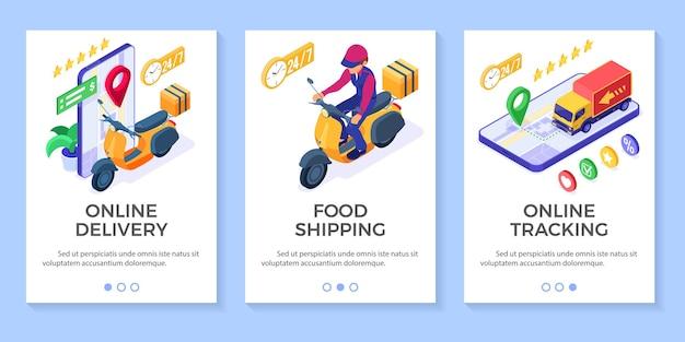 Pedido de comida en línea rápido y gratuito y servicio de entrega de paquetes envío de comida rápida entrega de scooter isométrica con calificación de ciclomotor y camión y seguimiento de pedidos en línea en el teléfono isométrico