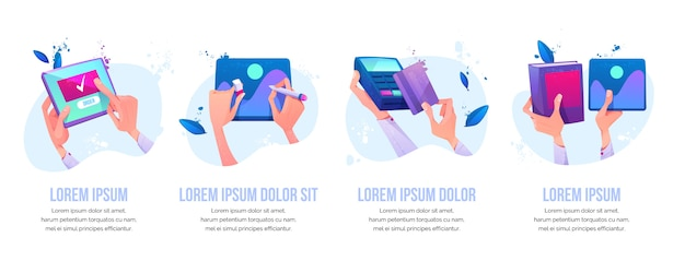 Pedido en línea, pintura de diseño gráfico, pago con tarjeta