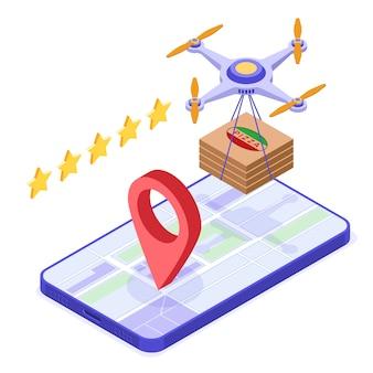 Pedido en línea de pizza de entrega de drones