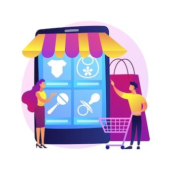 Pedido de productos en línea. tienda de internet, compras en línea, sitio web de comercio electrónico especializado. madre comprando ropa, calzado y juguetes para bebés, accesorios para bebés