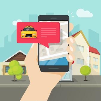 Pedido de taxi en línea en el teléfono móvil o celular y ilustración vectorial de la ciudad cartón plano
