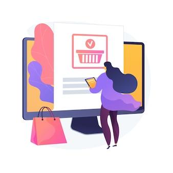 Pedidos en línea, realización de compras, compra de productos en el sitio web de la tienda en internet. clienta con tableta agregando producto al personaje de dibujos animados de carro. ilustración de metáfora de concepto aislado de vector.