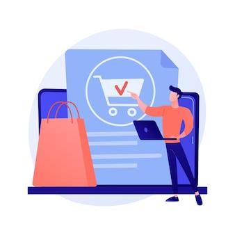 Pedidos en línea, realización de compras, compra de productos en el sitio web de la tienda en internet. clienta con tableta agregando producto al personaje de dibujos animados de carro.